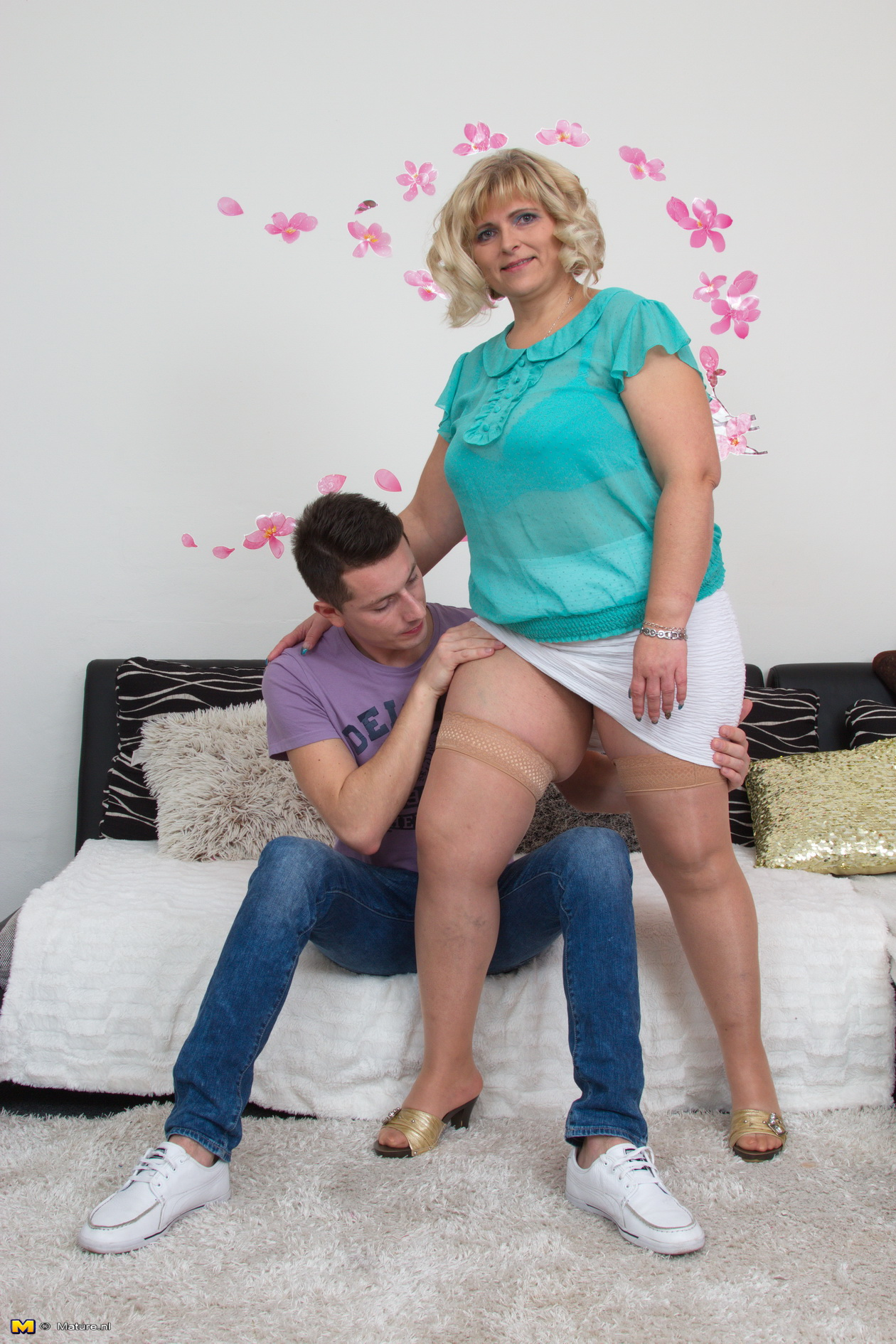 Boy in mature movie play woman